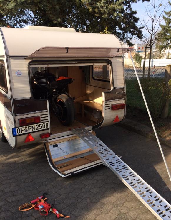 motorrad im wohnwagen transportieren allgemeines. Black Bedroom Furniture Sets. Home Design Ideas